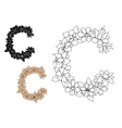 Capital letter C with vintage flowers vector image