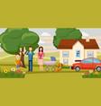 family horizontal banner garden cartoon style vector image