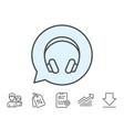 headphones line icon music listening sign vector image