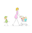 mother and daughter shopping vector image