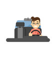 smiling driver in car icon vector image