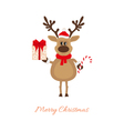 Christmas reindeer with gift and caramel cane vector image
