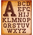 Set of stylized retro font on the background vector image