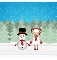 snowman and Christmas goat vector image