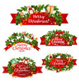 christmas greeting ribbon decoration icons vector image