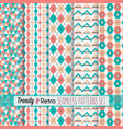 set of pink and teal modern and retro patterns vector image