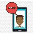 smartphone man speech bubble vector image