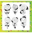 with cartoon lollipops vector image