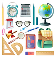 School Supplies Realistic Icons Collection vector image