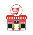 cute store shopping cart graphic vector image
