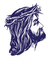jesus christ the son of god in a crown of thorns vector image vector image
