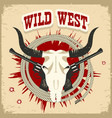 buffalo skull western card with wild west text on vector image vector image