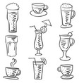 collection stock drink various doodles vector image