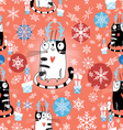 Christmas texture with cats vector image vector image