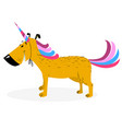 dog dressed as a unicorn cute dog in uniform as vector image