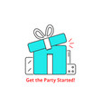 get the party started with thin line gift boxes vector image