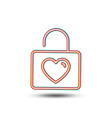 locker with heart line icon love symbol vector image