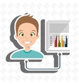 man with statistics isolated icon design vector image