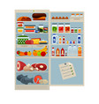 open refrigerator full of delicious food and cool vector image