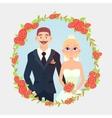 floral frame cartoon wedding couple vector image