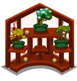 Decorative wooden shelf with small trees in pot vector image vector image