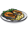 Grilled salmon and sauce vector image vector image