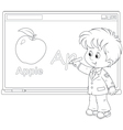 Schoolboy at the interactive whiteboard vector image vector image