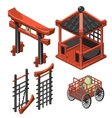 Architecture in classic Asian style cart with bag vector image