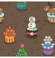 Christmas cupcake pattern vector image