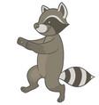 cute cartoon raccoon fun runs forward vector image