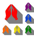 hand icon prayer symbol set of red vector image