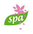 logo green leaf and flower for spa salon vector image