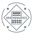 mathematics logo simple gray style vector image