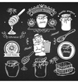 Set hand drawn icon and label honey vector image