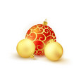 set of 3 red and golden christmas balls isolated vector image