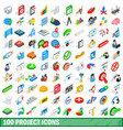 100 project icons set isometric 3d style vector image