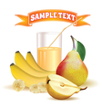 glass with juice bananas and pear vector image