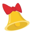 Bell with a bow cartoon icon vector image