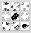 black ink brushes grunge square patterns hand vector image
