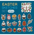 Easter objects stickers collection vector image