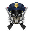 skull with sunglasses in a police cap and revolver vector image