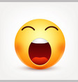 Smiley tired emoticon yellow face with emotions vector image