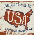 Vintage label of USA map vector image