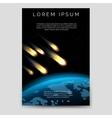 Brochure flyer template with meteor shower vector image