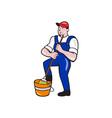 Janitor Cleaner Holding Mop Bucket Cartoon vector image vector image