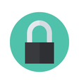 Flat closed padlock icon over green vector image vector image