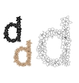 Lowercase letter D with dainty flowers vector image