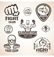 Set of fighting club emblems mma boxing labels vector