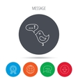Bird with speech bubble icon Chat talk sign vector image