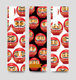 japanese daruma dolls bookmarks vector image